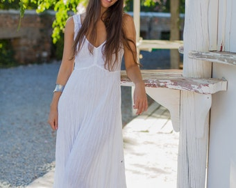 Linen/Long White Linen Dress/Casual Beach Wedding/White Linen Dresses/White Summer Dress/White Linen Sundress