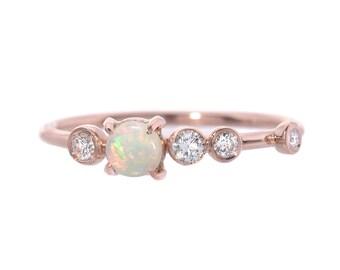 Opal Ring, Opal Engagement Ring, Opal Diamond Ring, Australian Opal Ring, Diamond Cluster Ring, Asymmetrical Ring, October Birthstone, Nixin