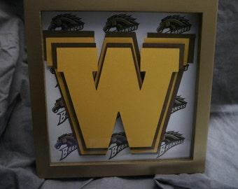 "Western Michigan University WMU Broncos Gold Framed Layered Art 8.25"" x 8.25"""