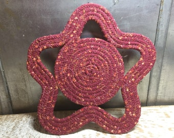 Star Cotton Trivet, Candle Mat, or Hot Pad - #CottonPottery