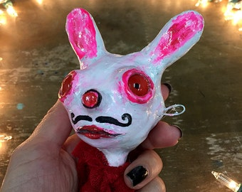 Bunny Rabbit Ornament, Outsider art decoration, childlike art doll sculpture, abstract sculpture, whimsy stocking stuffer, creepy cute, pink