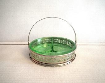 Depression Glass Green Divided Dish Basket Silver Filigree Metal Holder