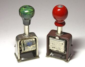 Vintage Auto Numbering Machines with Green Marbled Bakelite Knob, Wood Red Knob - circa 1940's