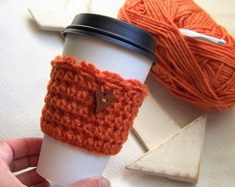 Crochet Coffee Cup Cozy with Wooden Heart Button