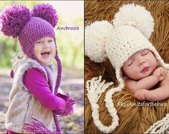 Crochet Earflap Pom Pom Hat, Baby Pom Pom Hat, Earflap Hat, Newborn Earflap Pom Pom Hat, Crochet Baby Hat, Newborn Hat, Newborn Photo Prop