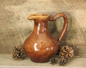 Vintage Pitcher Pottery Brown Glazed Pitcher with Handle Brown Glazed Pottery