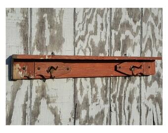 Great Rustic Coat Rack, Reclaimed Wood Shelf Coat Rack, Farmhouse Wall Shelf With  Coat Hooks