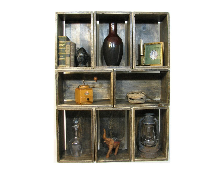 bookcase bookshelf wood crate shelves stackable wood. Black Bedroom Furniture Sets. Home Design Ideas
