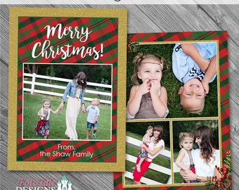 INSTANT DOWNLOAD - Plaid Tidings Christmas Card No. 4 - custom Christmas card template for photographers on whcc specs