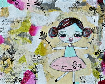Girl Art Print, Girl Print, Mixed media collage art print, Whimsical Folk Art Girl, Christian Art, Primitive art,  Free-by Judie Parsons