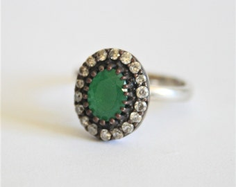 Vintage sterling silver and green crystal ring.  Adjustable ring.  Crystal ring