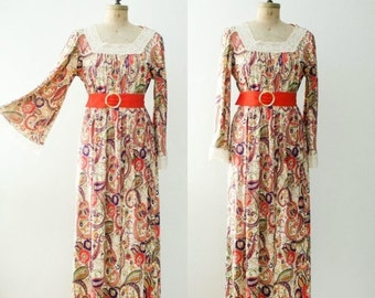 Birthday Sale - Vintage 1970's Paisley Maxi Dress with Bell Sleeves