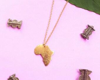 Unisex Africa pendant necklace- brass Africa pendant necklace- tribal pendant necklace
