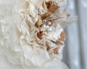 Handcrafted Burlap, Organza, and Lace Wedding Dress Sash Belt