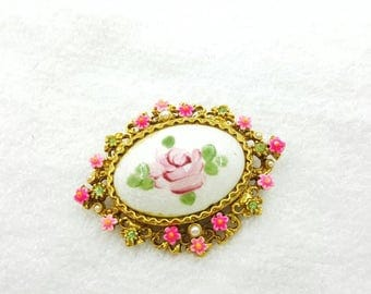 Art Signed Hot Pink  Guilloche Flower  Brooch