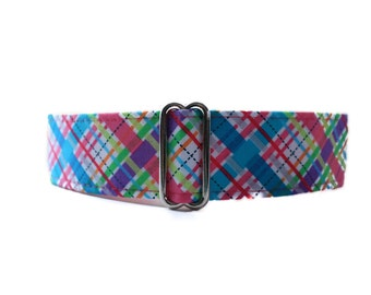 1.5 Inch Martingale Collar, Pink Martingale Dog Collar, Pink Dog Collar, Plaid Martingale Collar, Plaid Dog Collar, Easter Dog Collar