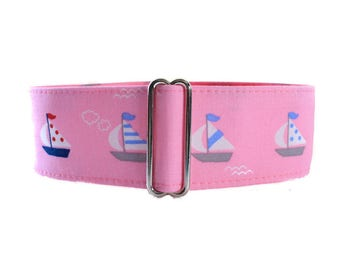 2 Inch Martingale Collar, Pink Martingale Collar, Sailboat Martingale Collar, Sailboat Dog Collar, Made in Canada, Sighthound Collar