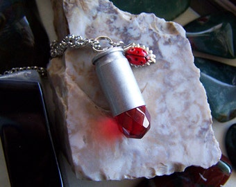 Red Crystal Silver Bullet with Ladybug Pendant