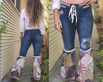 Hippy flare bell jeans, Size 9,patchwork jeans,boho jeans, bell bottom jeans, festival clothing, denim flare bells, retro bell bottoms,Zasra