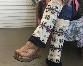 Eco Leg Warmers,sweater leg warmers, leg warmers, hippie leg warmers, boho leg warmers, cream  fair isle, by Zasra
