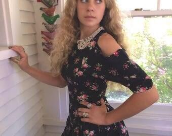 SALE altered mini DRESS,Size XS, rayon mini dress,hipster dress,festival dress,shabby chic dress, 90s dress,indie dress, rose floral dress,Z