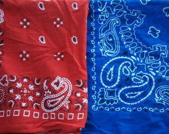 2 Vintage Bandana Scarves Lot: Red and Blue RH 111 Color fast and Kaiser collection