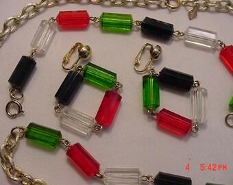 Vintage Sarah Coventry Necklace Bracelet & Clip On Earring Set   17 - 58