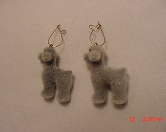 Vintage Fuzzy Gray Dog Pierced Earrings    17 - 156