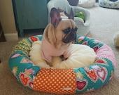 the HAZEL BUTTONS Donut Dog Bed- Mexican Heart, Batik, Cheetah