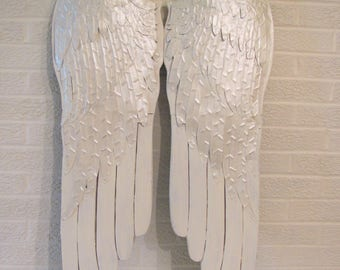 LARGE Angel Wings, Extra Large Antique White Wood And Metal Angel Wings, White or Pink Shabby Chic Pair of Wings