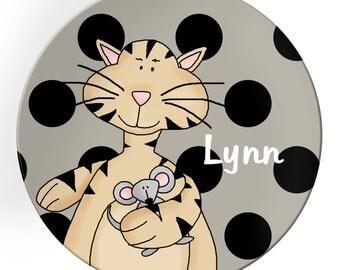 Personalized Melamine Dinner Plate Kitty Cat Feline Melamine Plate