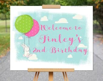 Bunny Welcome Birthday Sign | Bunny Rabbit Sign | 2nd Birthday Sign | Pink, Green Birthday Party Decor  1570