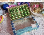 Store Closing SALE Vintage Tiny Feather Tree Glass Ornaments-Original Box-14mm-Shiny Brite-2 Dozen-GREEN