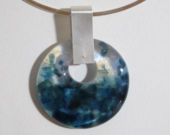 Sea Blue & Opaline Disc Necklace