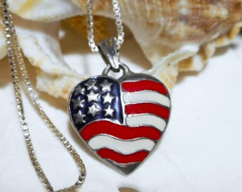 Sterling Silver Patriotic American Stars And Stripes Heart Pendant Necklace 3.96g
