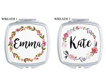 Personalized First Name Floral Wreath Compact Mirror | Floral | Bridesmaid Gift | Bride Gift | Shower Gift | Birthday Gift | Purse Accessory