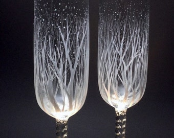 Winter Wedding Toasting Flutes, personalized, engraved and hand painted,