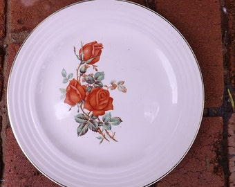 Upico Ivory Universal Cambridge Dinner Plate With Rose Spray Design