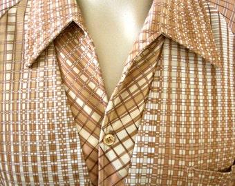 Vintage 70s Men's Shirt - Tan and White Atomic Print Mens Shirt - Short Sleeve Retro Shirt - Disco Shirt - Size Medium to Large