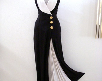 Vintage 80s Black and White Halter Dress - Black 1980s Maxi Dress - Long Black Halter Dress - Black and White Dress - Size Medium 7 8