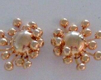 Vintage 60s Gold Tone Sputnik Earrings - Large Mid Century Modern Atomic Era Earrings - Space Age Gold Tone Earrings - Modernist Earrings