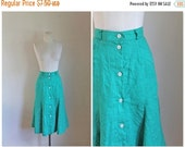 30% off SALE 75 Percent OFF...last call // vintage linen skirt - MERMAID Mint 80s button front flare skirt / xs