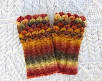 Autumn Colours Wrist Warmers, Crocodile Stitch, Dragon Scale, Crochet Wrist Cuffs Wrist Warmers Handmade in Ireland