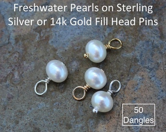 Fifty (50) 5mm - 6mm white freshwater potato pearl charms drops - Sterling silver or 14k gold fill closed loop wire wrapped dangles