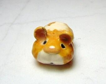 Teddy Bear Hamster  - Terrarium Ceramic Figurine - Hamster Figurine - Small Pet Hamster - Pottery Animal - Tan and White  Hamster