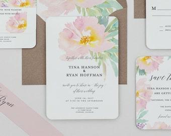 Boho Rustic Blush Floral Wedding Invitations, Boho Blush and Mint Wedding Invite,Pink Floral Wedding Invitation,Rustic Spring Wedding Invite
