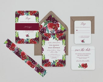 Rustic Floral Wedding Invitations Template,Rustic Red Wedding Invitation Digital Download,Berry Floral Wedding Printable Invitation,Burgundy