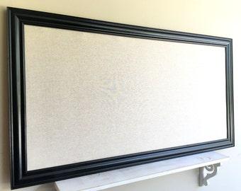 MAGNET BOARD Black Framed Fabric Board Gift for Men Home Office Wall Hanging Linen Cork Board Bulletin Board Modern Tall Jewelry Organizer
