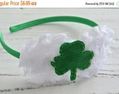 CLOSING SALE St. Patrick's Day headband hair accessory-Green white Shamrock Clover-made by Maddie B's Boutique on Etsy
