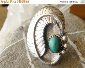 Sterling Southwestern Malachite Ring, Feather ring